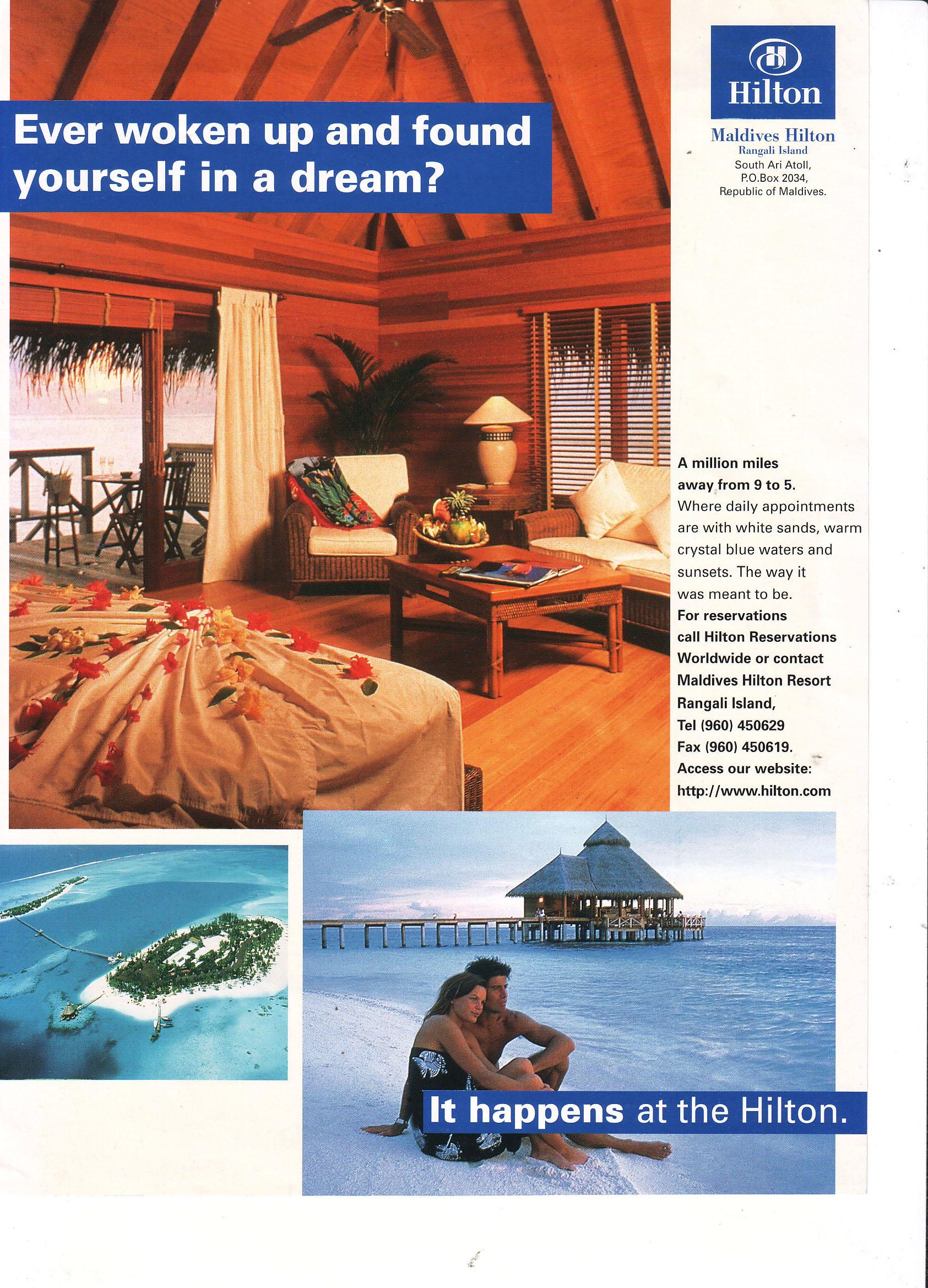 HILTON MALDIVES HOSPITALITY ADVERTISEMENT | blueorangeasia